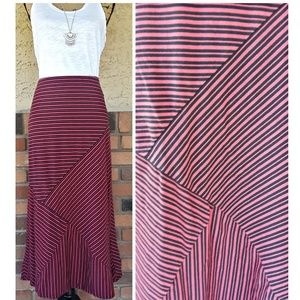 j jill striped maxi skirt navy blue and coral